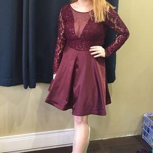 My Michelle Burgundy Long-Sleeve Homecoming Dress